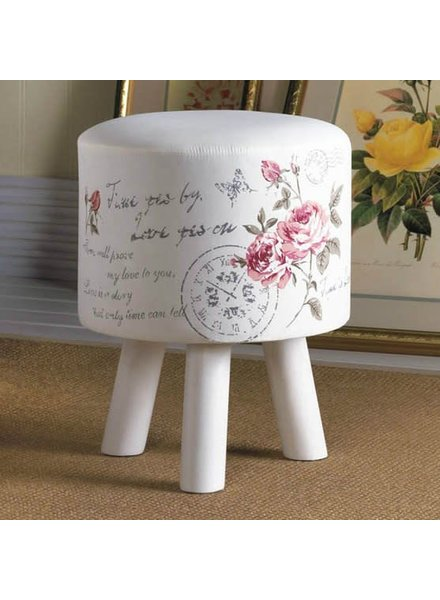 """Hand-Painted Floral Stool 12"""" Diameter x 15"""" Tall"""