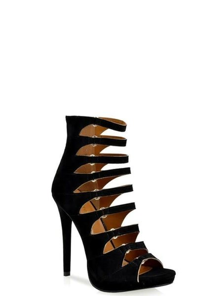 877612dd4d Black Strappy Caged Open Toe Platform Heel