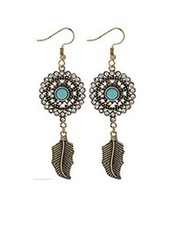 Tuquoise & Gold Bohemian Style Dangle Earring