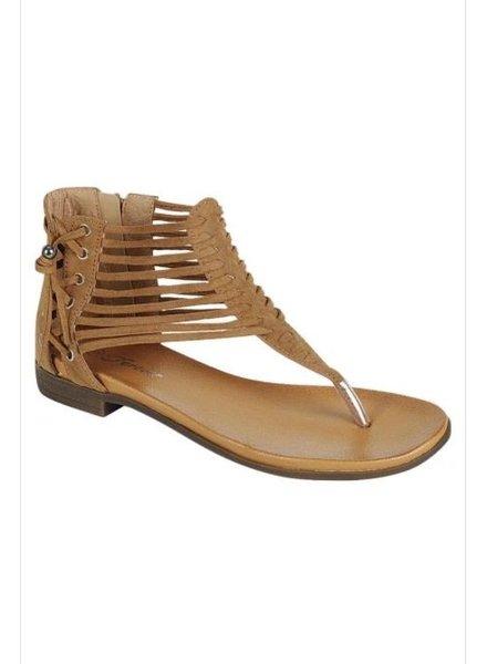 Tan Side Detail Strappy Sandal