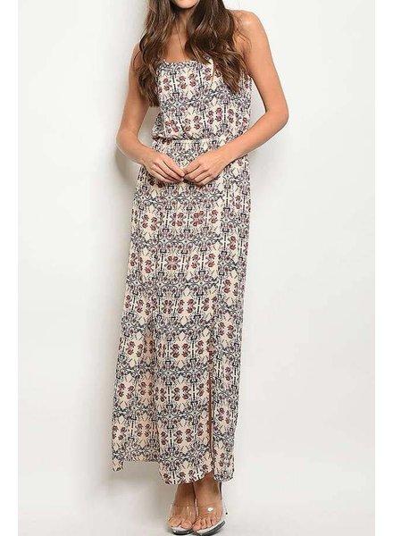 Taupe Tribal Print Maxi Dress