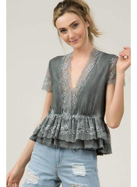 Grey Ruffle Lace Layered Trim Top