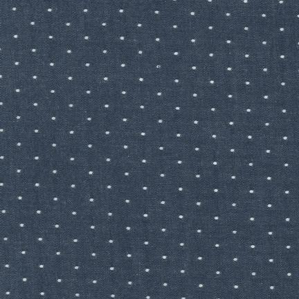 Robert Kaufman Cotton Chambray Dots: Indigo