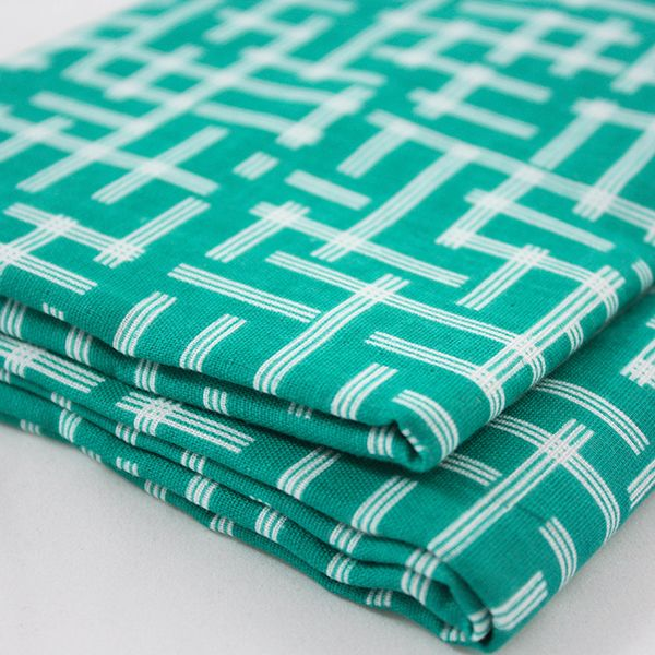 Kokka Framework Collection by Ellen Luckett Baker: Broken Plaid Double Gauze Teal