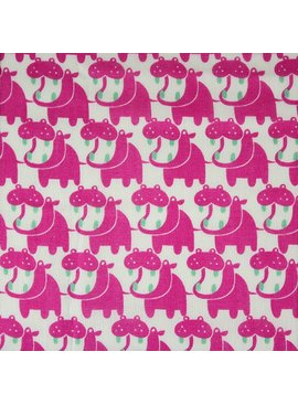 Hokkoh Double Gauze: Hippos Fushcia
