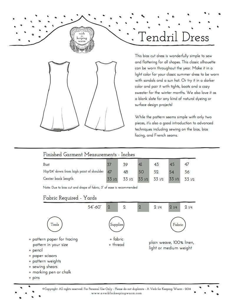 A Verb for Keeping Warm Tendril Dress Pattern by A Verb for Keeping Warm