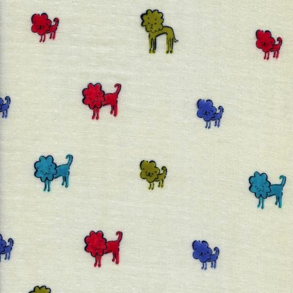 Cotton + Steel Clover by Alexia Marcelle Abegg: Dog Lions Blue Double Gauze