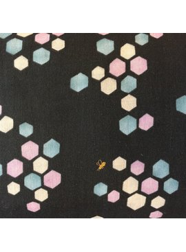 Seven Islands Kokka Double Gauze Honeycomb Navy/Lavender