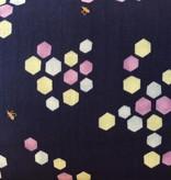 Seven Islands Kokka Double Gauze Honeycomb Blue/Spring Green