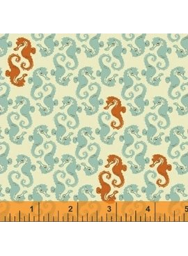 Windham Fabrics Mendocino by Heather Ross Sea Horses Aqua