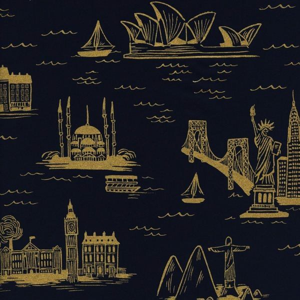 Cotton + Steel Cotton + Steel: Les Fleurs Rifle Paper Co - City Toile Cotton Lawn - Navy (Metallic)