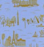 Cotton + Steel Cotton + Steel: Les Fleurs Rifle Paper Co - City Toile Cotton Lawn - Pale Blue (Metallic)