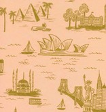 Cotton + Steel Cotton + Steel: Les Fleurs Rifle Paper Co - City Toile Cotton Lawn - Peach (Metallic)