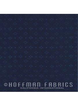 Hoffman Fabrics Me + You Hand Dyed Batiks Geo Dragonfly Indigo