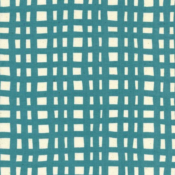 Cotton + Steel Yours Truly by Kimberly Kight: Going Steady Grid Teal
