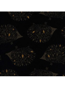 Cotton + Steel Sleep Tight by Sarah Watts: Prickles Black Canvas