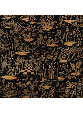 Cotton + Steel Wonderland by Rifle Paper Co: Magic Forest Midnight Metallic