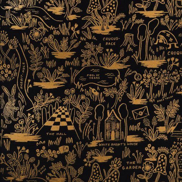 Cotton + Steel Wonderland by Rifle Paper Co: Magic Forest Midnight Metallic