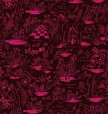 Cotton + Steel Wonderland by Rifle Paper Co: Magic Forest Ruby Rayon