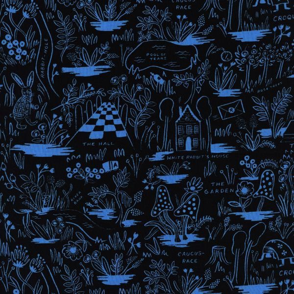 Cotton + Steel Wonderland by Rifle Paper Co: Magic Forest Blue Rayon