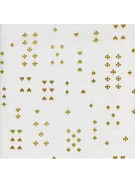 Cotton + Steel Wonderland by Rifle Paper Co: Follow Suit Cream Metallic Cotton Lawn