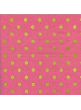 Cotton + Steel Wonderland by Rifle Paper Co: Caterpillar Dots Pink Metallic