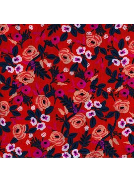 Cotton + Steel Wonderland by Rifle Paper Co: Painted Roses Orange Rayon