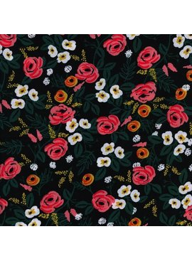 Cotton + Steel Wonderland by Rifle Paper Co: Painted Roses Black Rayon