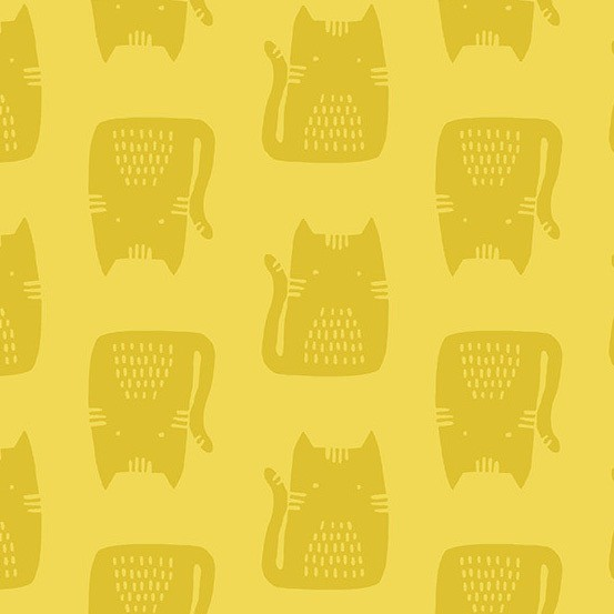 Andover Maker Maker Cats on Yellow