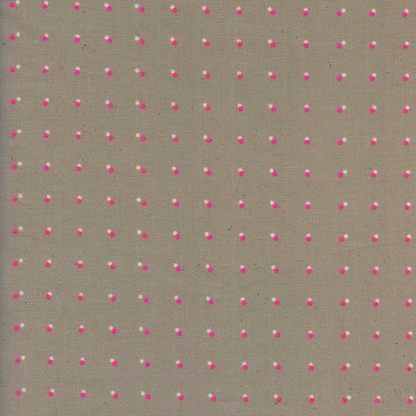 Cotton + Steel Black And White 2017 by Cotton + Steel: Double Dots - Neon Pink