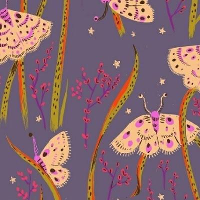 Windham Fabrics Sleeping Porch by Heather Ross Cotton Lawn Moths Twilight