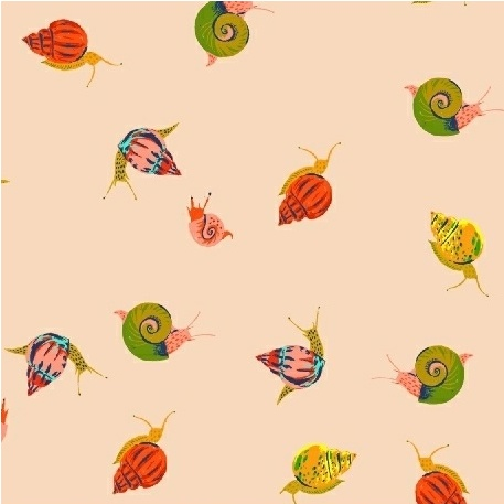 Windham Fabrics Sleeping Porch by Heather Ross Cotton Lawn Snails Peach