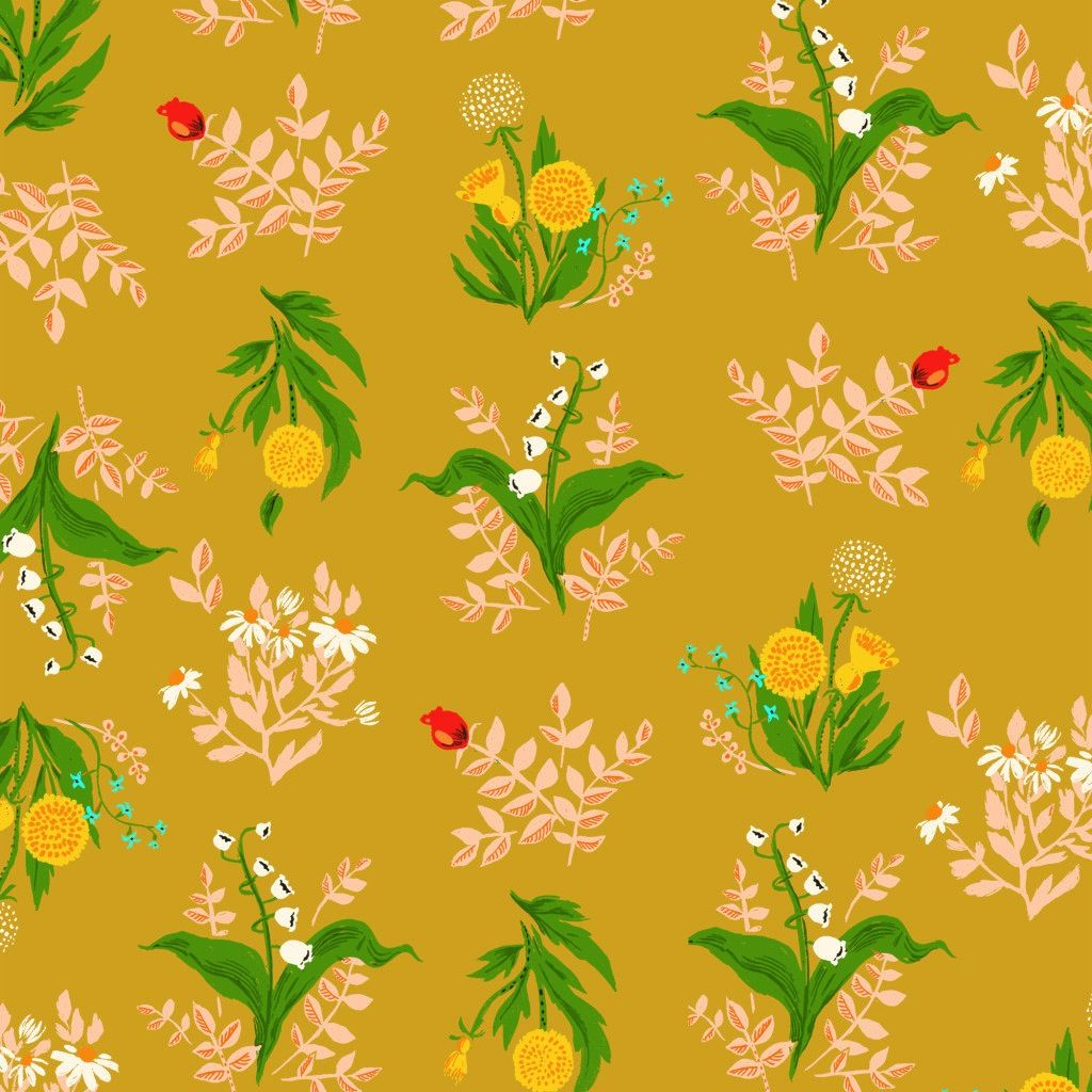 Windham Fabrics Sleeping Porch by Heather Ross Cotton Lawn Bouquet Gold