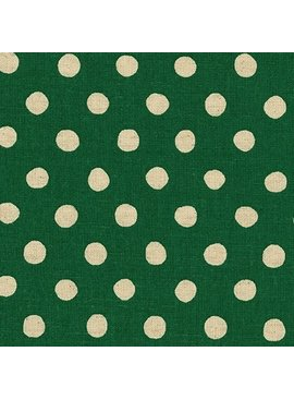 Robert Kaufman Sevenberry Canvas Natural Dots Green