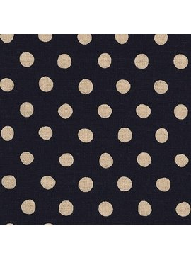 Robert Kaufman Sevenberry Canvas Natural Dots Midnight