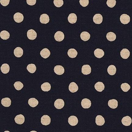 Robert Kaufman Sevenberry Canvas Natural Dots Midnight
