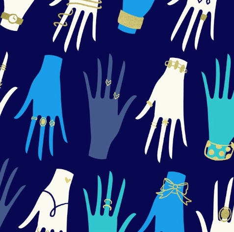 Cotton + Steel PREORDER Beauty Shop by Sarah Watts & Melody Miller: Manicure Navy