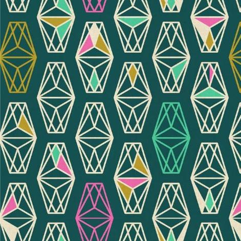 Cotton + Steel Lagoon by Rashida Coleman-Hale: Lively Lanterns Dark Teal