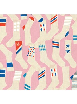 Cotton + Steel Kicks by Melody Miller: Socks Pink