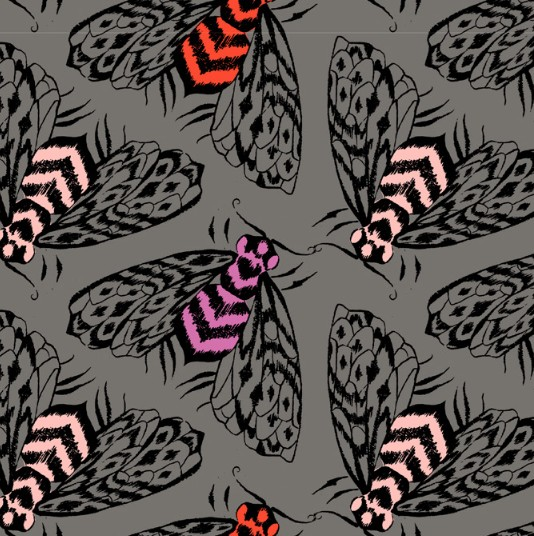 Cotton + Steel PREORDER Magic Forest by Sarah Watts: Bees Charcoal