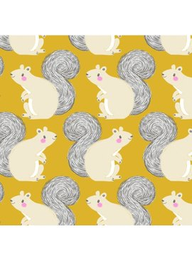 Cotton + Steel PREORDER Magic Forest by Sarah Watts: Squirrels Yellow