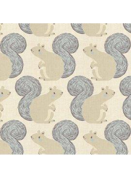 Cotton + Steel PREORDER Magic Forest by Sarah Watts: Squirrels Neutral