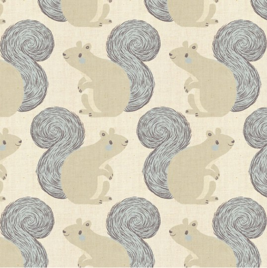 Cotton + Steel Magic Forest by Sarah Watts: Squirrels Neutral