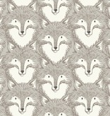 Cotton + Steel Magic Forest by Sarah Watts: Foxes Grey