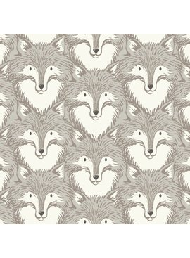 Cotton + Steel PREORDER Magic Forest by Sarah Watts: Foxes Grey
