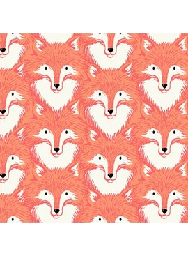 Cotton + Steel PREORDER Magic Forest by Sarah Watts: Foxes Coral