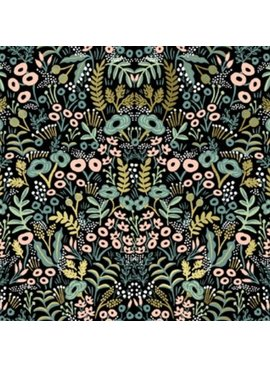 Cotton + Steel PREORDER Menagerie by Rifle Paper Co: Tapestry Midnight Metallic
