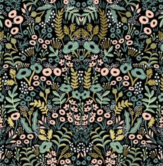 Cotton + Steel Menagerie by Rifle Paper Co: Tapestry Midnight Metallic