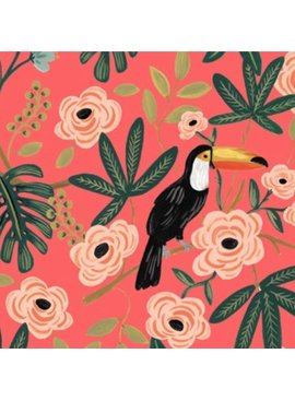 Cotton + Steel PREORDER Menagerie by Rifle Paper Co: Paradise Garden Coral Rayon Lawn