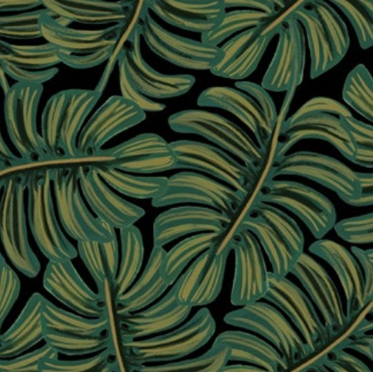 Cotton + Steel Menagerie by Rifle Paper Co: Monstera Midnight Rayon